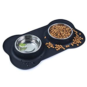 Pet Deluxe Dog Bowls Stainless Steel Dog Bowl with Non Spill Skid Resistant Silicone Mat 24/48 oz Double Pet Bowls Feeder Bowl for Dogs Cats and Pets 42