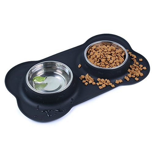 Pet Deluxe Dog Bowls Stainless Steel Dog Bowl with Non Spill Skid Resistant Silicone Mat 12 oz Double Pet Bowls Feeder Bowl for Dogs Cats and Pets -