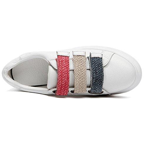 JRenok Chaussure de Sport Femme Baskets Mode Running Multisport Outdoor Scratch Cuir Sneakers Casual Antidérapantes Blanc Blanc PPszrds