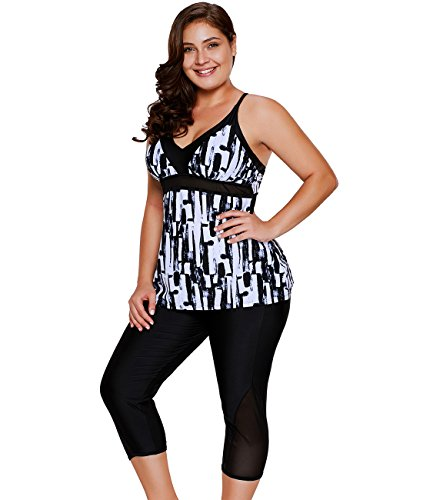 Lalagen Women's Plus Size Rash Guard Capris Tankini Athletic Swimwear Black S