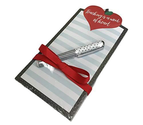 Teaching is a Work of Heart Teacher Themed Notepad with Pen Novelty Desk Gift Set