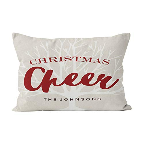 Wesbin Vintage Christmas Cheer Script Holiday Pretty Hidden Zipper Home Decorative Rectangle Throw Pillow Cover Cushion Case 16x24 Inch One Side Design Printed Pillowcase