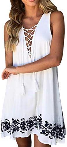 Meigeanfang Women`s Summer Sleeveless V-Neck Hollow Out Bandge Printed Casual Beach Mini Dress / Meigeanfang Women`s Summer Sleeveless V-Neck Hollow Out Bandge Printed Casual Beach Mini Dress