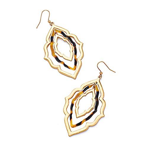Gold Flower Drop Dangle Earrings for Women Girls-Acrylic Vintage Filigree Hollow Earrings