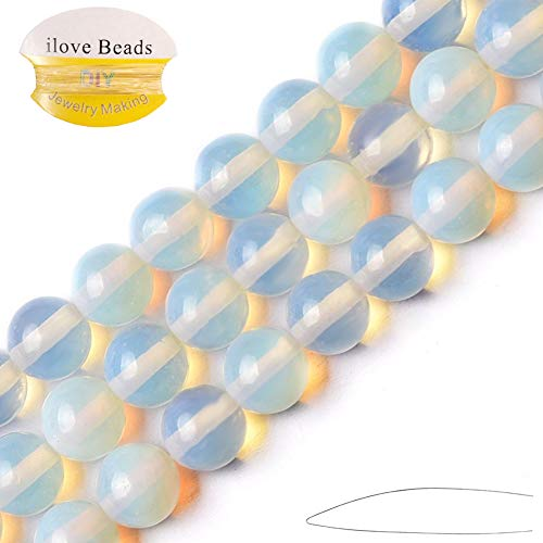 ILVBD Natural Round Opal Beads Bulk 4/6/8/10/12/14MM Loose Beads for Jewelry Making 15