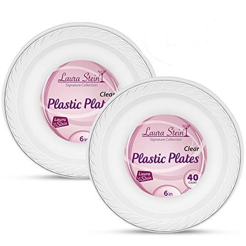 Laura Stein Elegant Clear 6 Inch Disposable Clear Plastic Plates 2 Pack (80 Plates)