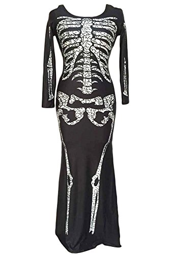 [iecool Women's Long Skeleton Dress Adult Halloween Costume Black One Size] (Sexy Witch Costumes Plus Size)