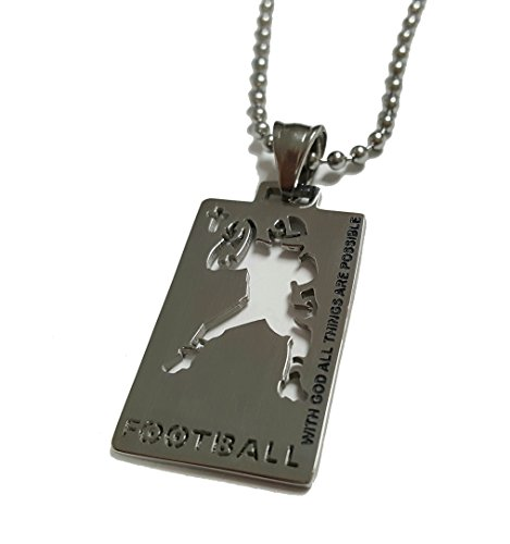 Christian Stainless Steel Sport Football Medal Necklace - Chain Included