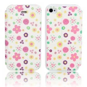 Flower Pattern Flip-open PU Leather Protective Case for iPhone 4/4S ( 3 )