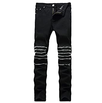 Men's Skinny Destroyed Jeans with Zippers at Amazon Men's Clothing ...