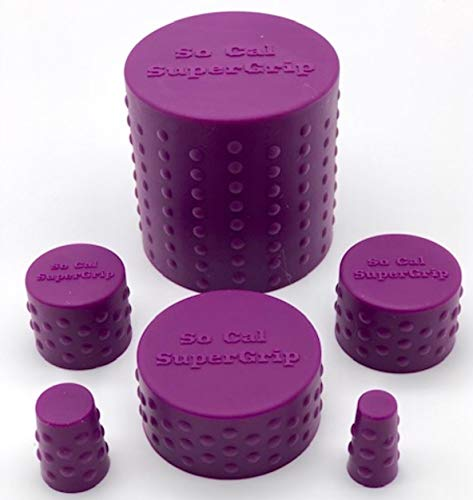 So Cal SuperGrip Universal 6 Piece Silicone Caps for Cleaning, Storage and Odor Proofing Glass Water Pipes/Rigs and More - Purple