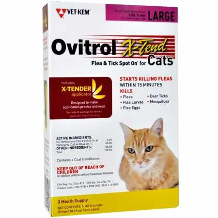 Ovitrol XTend Flea Tick Spot On for Large Cats (5 lbs and over) 3 MONTH