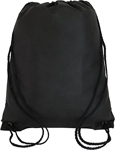 Promotional Non-Woven Drawstring Backpacks for Giveaway Favors or Daily Use, Black, Set of 50 ()