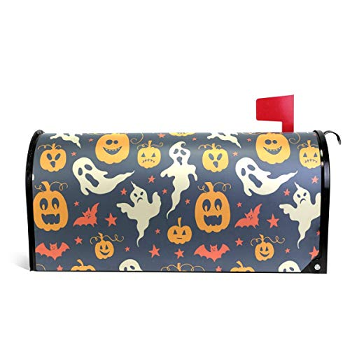 Halloween Ghosts Pumpkin Letter Post Box Cover Wrap Decoration Welcome Home Garden Outdoor,Vinyl Mailbox Wraps Holiday Standard 6.5 x 19 inch