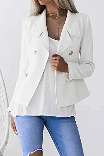Autunno Giacca Business Fit Con Blazer Da Giacche Button Vintage Cappotto Tailleur Classiche Donna Slim Colore Puro Sudore Eleganti Manica Primaverile Bianca Moda Corto Lunga dSw8xxXq