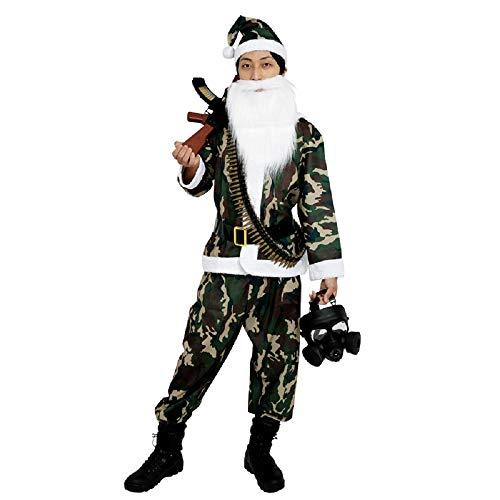 PATYMO Men's Camo Army Santa Costume Small Size - Adult Military Santa Dress -
