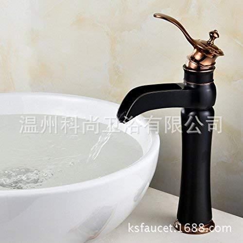 Willsego Modernes Waschbecken Wasserhahn Kupfer schwarz Wasserhahn schwarz Waschtisch schwarz Tubeless (Farbe   The Orb Farbe No Tube)