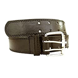 Double Prong Men's Black Leather Belt-Assorted Sizes (Small)