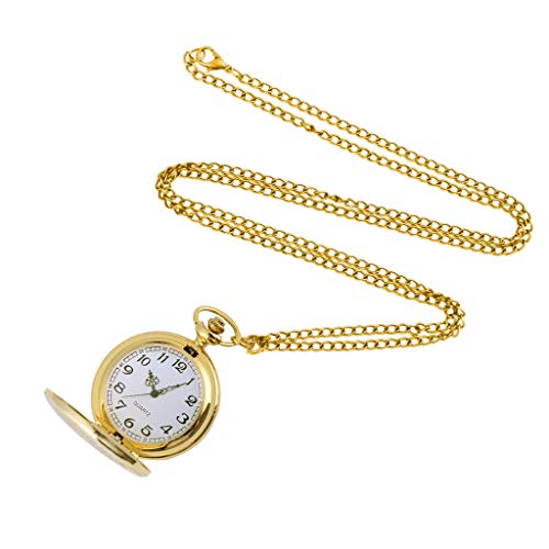 Clearance Sale!DEESEE(TM)Men and Women Couple Pocket Watch Retro Quartz Hanging Table Commemorative Table (Gold)