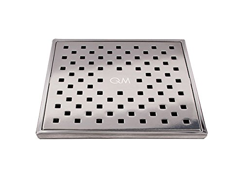 QM Square Shower Drain, Grate made of Stainless Steel Marine 316 and Base made of ABS, Lagos Series Tulia Line, 4 inch, Satin Finish, Kit includes Hair Trap/Strainer and Key