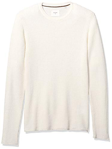Billy Reid Men's Cotton Cashmere Mini Waffle Crew Neck Sweater, White M