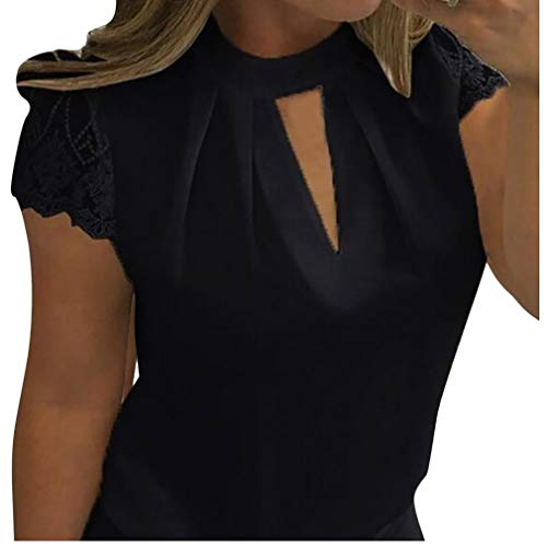 Women Blouses 2018 Summer New Chiffon Solid Color Short Sleeve Sexy Tops (M, Black)