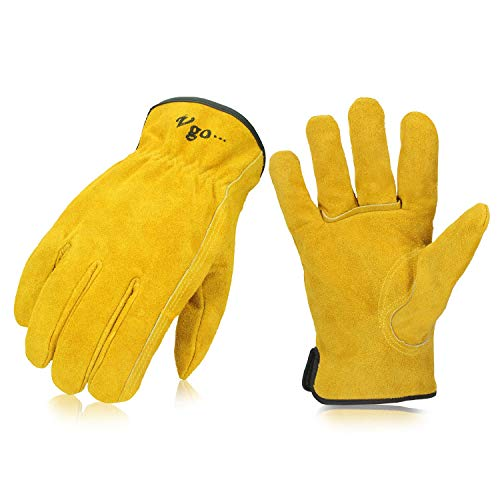Vgo 3Pairs Unlined Cowhide Split Leather Work and Driver Gloves,for Heavy Duty, Truck Driving, Warehouse, Gardening, Farm(Size L,Gold,CB9501) ()