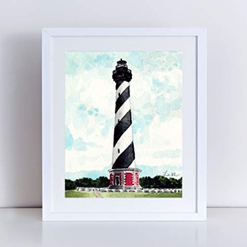 Cape Hatteras Light House Art Print Watercolor Painting Wall Home Decor Lighthouse North Carolina Southern Style Outer Banks Nautical Coastal Beach House Canvas Art Unframed ()