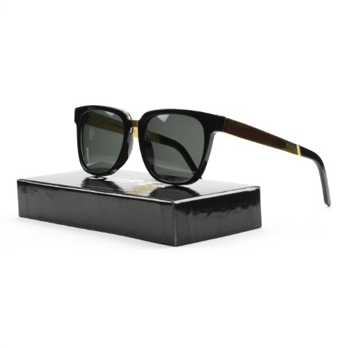 Retro Super Future 348 Black and Yellow Gold Metal People Wayfarer - People Sunglasses Retrosuperfuture