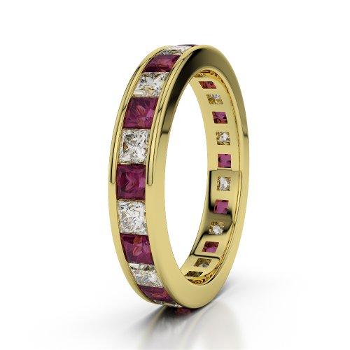 Or jaune 18carats 2,25CT G-H/VS sertie de diamants ronds Cut Rubis et éternité Bague Agdr-1134