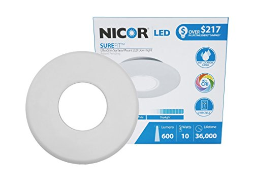 NICOR Lighting SureFit 5.25-Inch Round Ultra Slim 2700K LED Junction Box Retrofit Downlight Kit, White (DLF-10-120-2K-WH)
