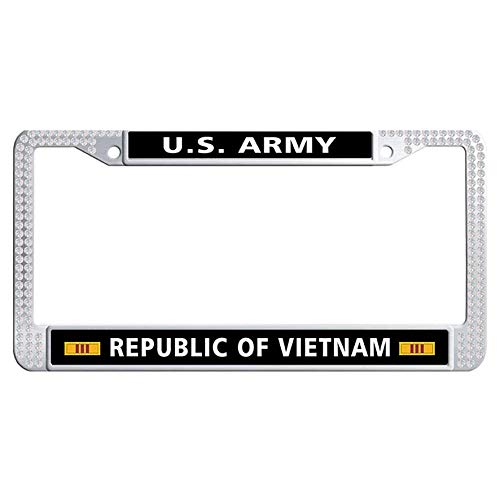 Hensteelna U.S. Army Bling Crystal Car Licence Plate Covers US Army Republic of Vietnam Presidential Unit Citation Ribbon Shining Crystal Car tag Frame(White,1 pic, 6' x 12' in) ()