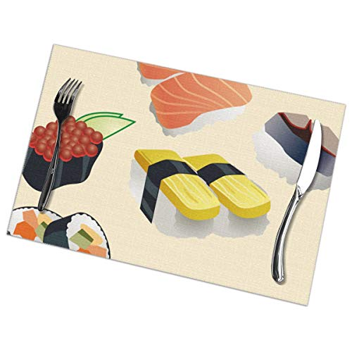 (Jinsshop Placemat Set of 6, Washable Placemats - I Love)