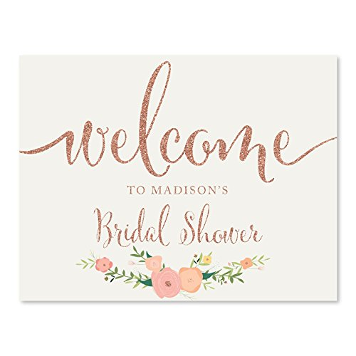 Andaz Press Personalized Wedding Party Signs, Faux Rose Gold Glitter with Florals, 8.5x11-inch, Welcome to Madison's Bridal Shower Sign, 1-Pack, Colored Decorations, Custom Made Any Name ()