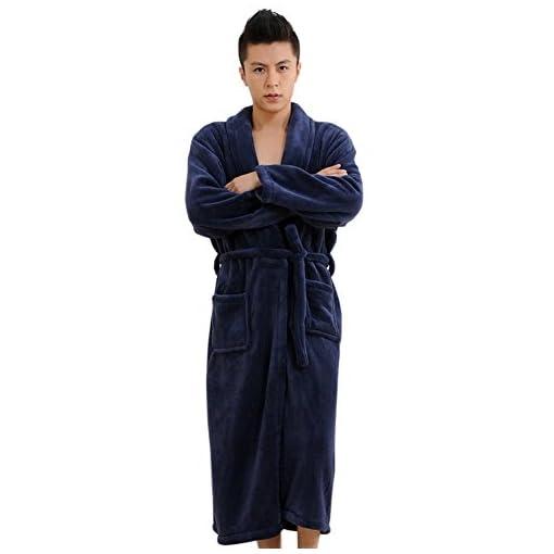 CaiDieNu-Mens-Super-Soft-Flannel-Shawl-Collar-Pajama-Robe-Bathrobe