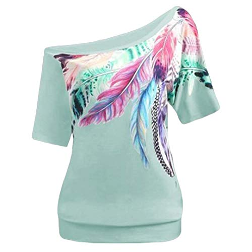 Sunhusing Fashion Women Plus Size Skew Collar Feather Print Short Sleeve Vest Tops Blouse Green (Audrey Card Mini Case)