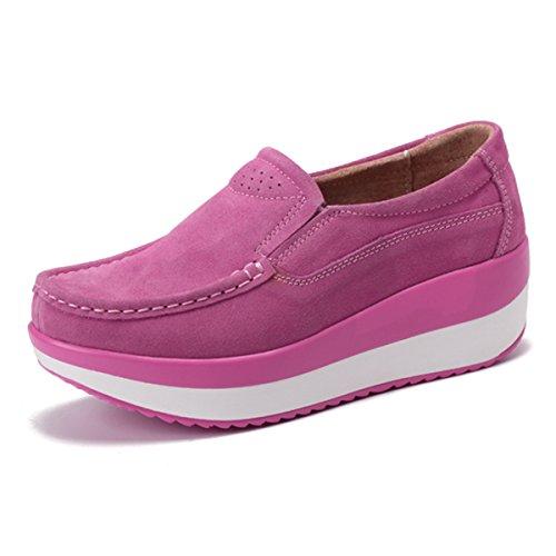 Casual comode Scarpe Cuneo Scarpe Moda Loafers Sneaker Tacco con Comodo in Rosa Nascosto Zeppa con Donna Guida da Piattaforma Pelle Gracosy Scamosciato Zeppa Mocassini w6R76qU