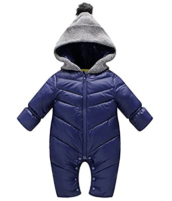 Happy Cherry Newborn Winter Romper Hooded Zipper Baby Boys Girls Snowsuit Thick Jumpsuit 0-6 Months S Blue