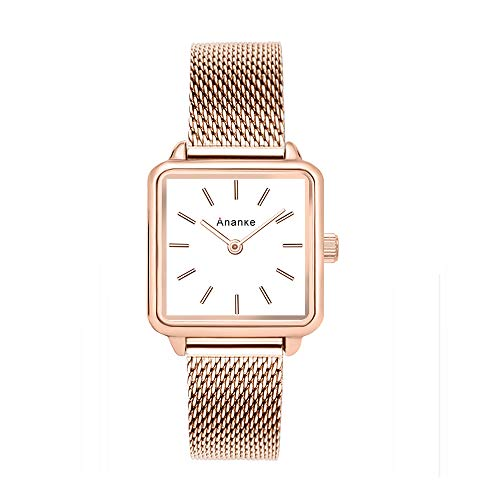 (ANANKE Women Rose Gold Square Watches Lady Stainless Steel Mesh Watch Girls Waterproof Quartz Aanalog Wristwatches)