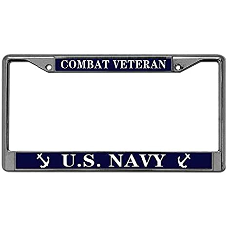 US Navy License Plate Frame Tag Holder Free Screw Caps Included Love US Navy License Plate Frame Metal Vehicle License Plate Frame License Plate Covers & Frames Exterior Accessories
