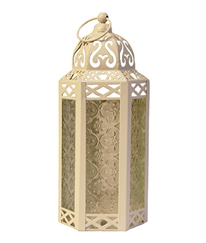 Vela Lanterns Mid-Size Table/Hanging Glass Hexagon Moroccan Candle Lantern Holders - Cream (Unique Wedding Centerpieces)