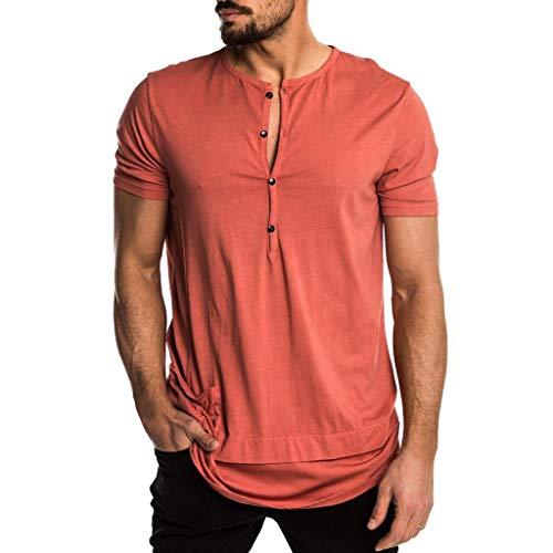 Mens Summer Fashion Personality Pocket Short Sleeve Henley Tunic Tops Orange ()
