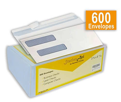 600 Double Window Security Envelope, Self-Seal, Blue Tint for Privacy, Ideal for QuickBooks, Business, Laser & Computer Printed Checks, Size 3 5/8