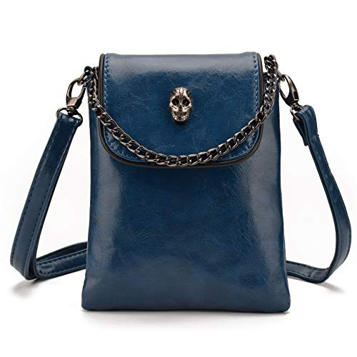 Jiaruo Women Girls Studded Skull Gothic Crossbody Shoulder Bag Travel Leather Handbag Cellphone Purse (Blue)