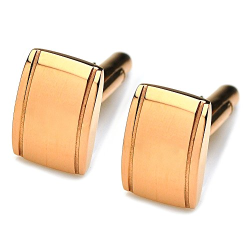PenSee Classic Business Wedding Stainless Steel Cufflinks for Men With Gift Box-Various Colors Styles (Square-Rose Gold) (Square Cufflinks Style)