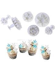 Joinor 6pcs/Set Snowflake Pattern Plunger Cake Fondant Deciration Cookie Cutter Craft DIY Decorating Tools