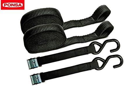 PONSA T35 -Cinta trincaje profesional -Trinquete - 2 unidades. Para amarrar cargas ligeras. Longitud 4m. Rotura real 1000 kg (en forma de aro). 027048035108: Amazon.es: Bricolaje y herramientas