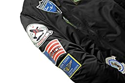 Neo-wows Men\'s Bomber Jacket with Patches  Black  Large