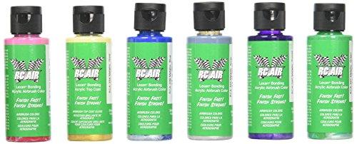 Airbrush Lexan Paint - Badger RCA-352 Rc Air Radio Control Lexan Metallic 6 2 oz Bottles (Set of 6) Airbrush Paint