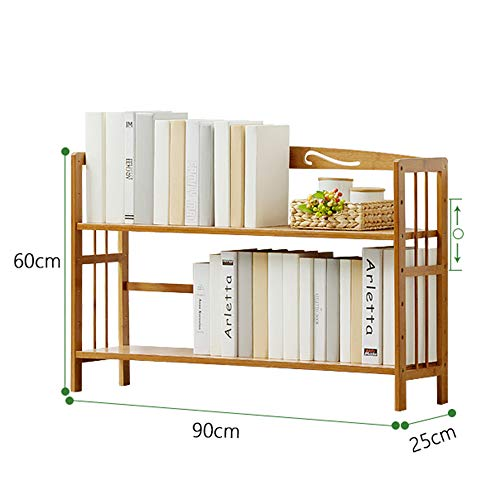 Shelf Wooden Slatted Rack Brown Free Standing 2 Tier Bookcase Storage Organizer Unit (Size : 90cm)